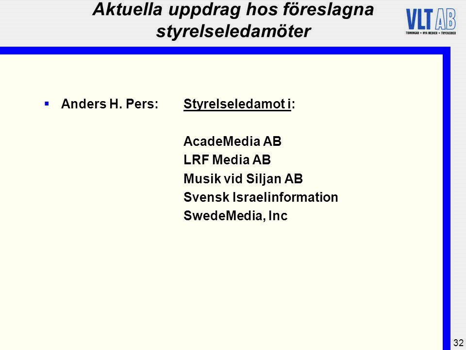 32 Aktuella uppdrag hos föreslagna styrelseledamöter  Anders H. Pers:Styrelseledamot i: AcadeMedia AB LRF Media AB Musik vid Siljan AB Svensk Israeli
