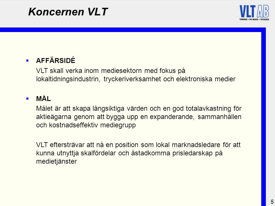 6 Koncernen VLT  Aktiekurs, SEK73,0 88,0  EK / Aktie, SEK58,460,4  Kurs / EK, %125146  Soliditet, %56,359,1  Avkastning EK, % 3,3 12,6  Avkastning syss.