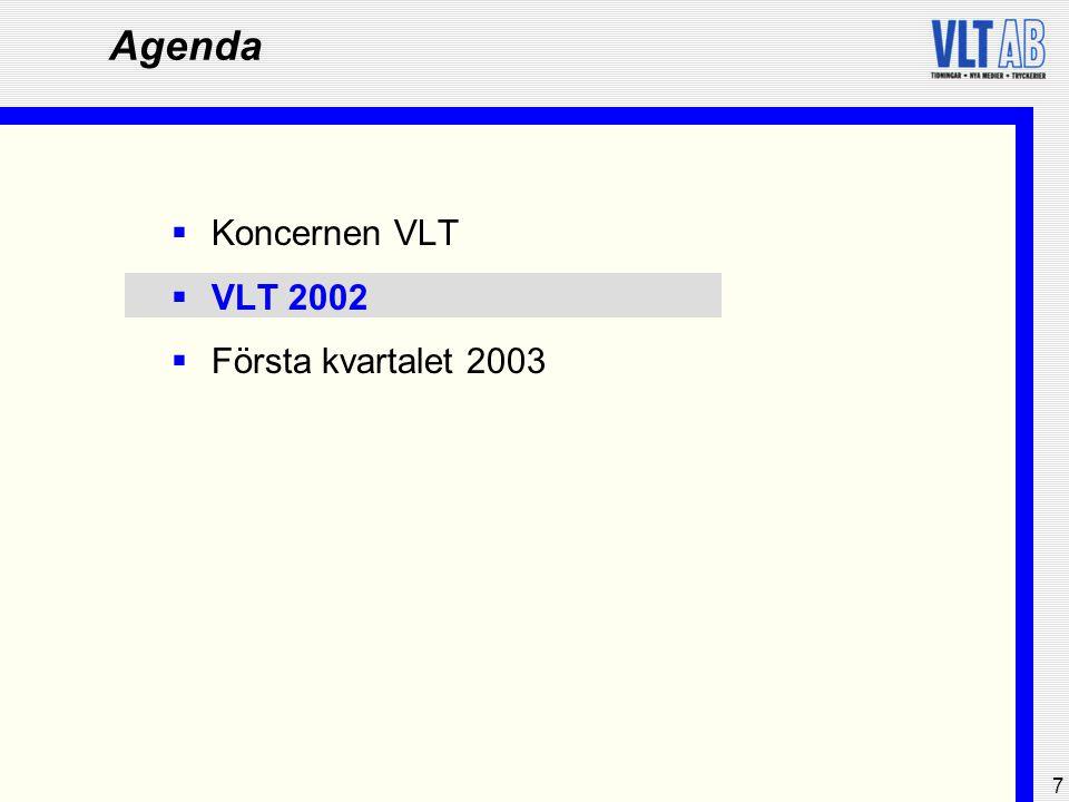 8 Koncernen VLT - 2002  Omfördelning mot direktkommunicerande medier  Enligt IRM beräknas de totala medieinvesteringarna öka med 3 procent under 2003  Allmänt svag konjunkturell utveckling i Sverige  Reklaminvesteringarna återhämtade sig något i slutet av 2002 och uppgick till cirka SEK 14,7 miljarder, motsvarande en minskning med 5,7 procent jämfört med 2001  Produkt- och utbudsannonsering prioriterades framför varumärkesannonsering