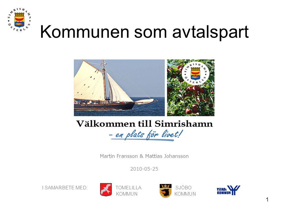 1 Kommunen som avtalspart Martin Fransson & Mattias Johansson 2010-05-25 I SAMARBETE MED: TOMELILLA SJÖBO KOMMUN KOMMUN