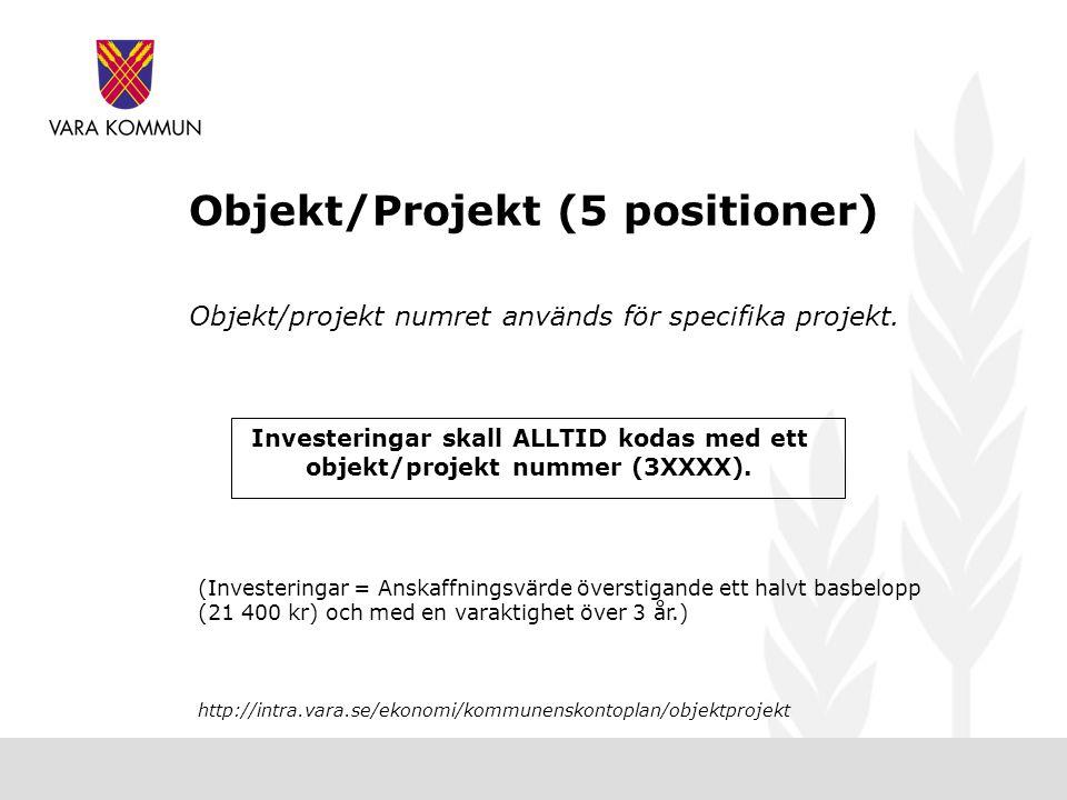 Objekt/Projekt (5 positioner) Objekt/projekt numret används för specifika projekt.