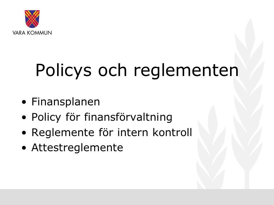 Policys och reglementen •Finansplanen •Policy för finansförvaltning •Reglemente för intern kontroll •Attestreglemente