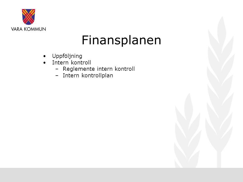 Finansplanen •Uppföljning •Intern kontroll –Reglemente intern kontroll –Intern kontrollplan