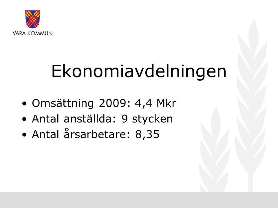 Ekonomiavdelningen •Omsättning 2009: 4,4 Mkr •Antal anställda: 9 stycken •Antal årsarbetare: 8,35