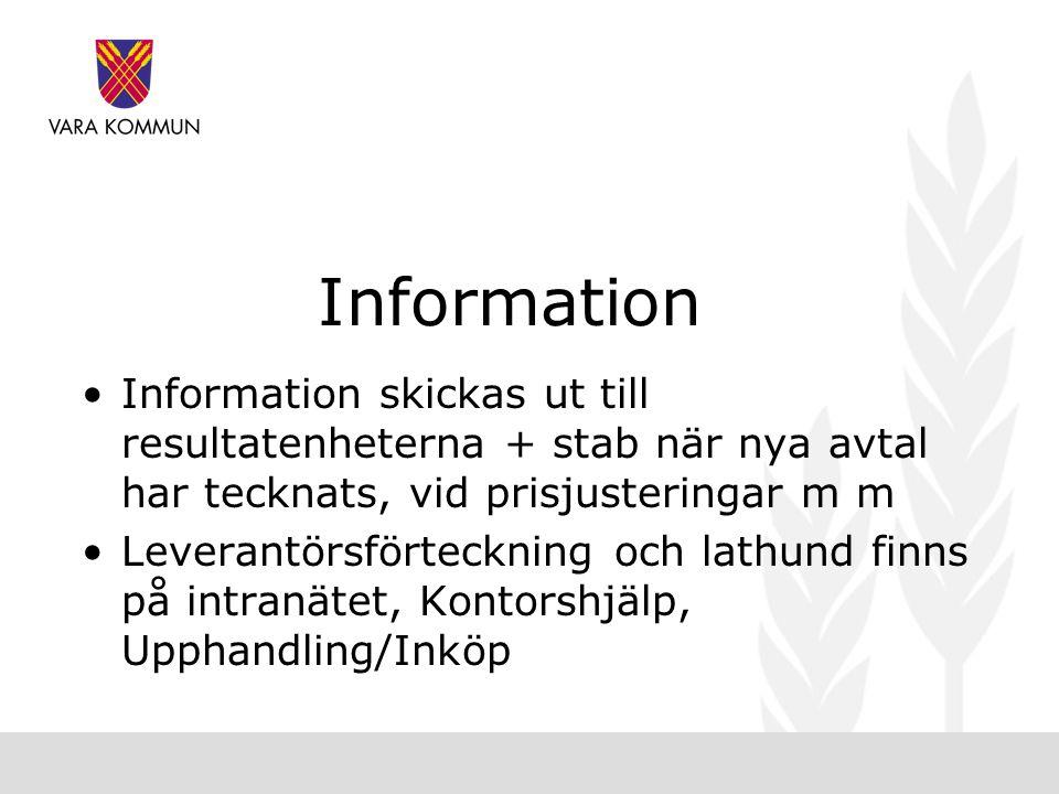 Information •Information skickas ut till resultatenheterna + stab när nya avtal har tecknats, vid prisjusteringar m m •Leverantörsförteckning och lathund finns på intranätet, Kontorshjälp, Upphandling/Inköp