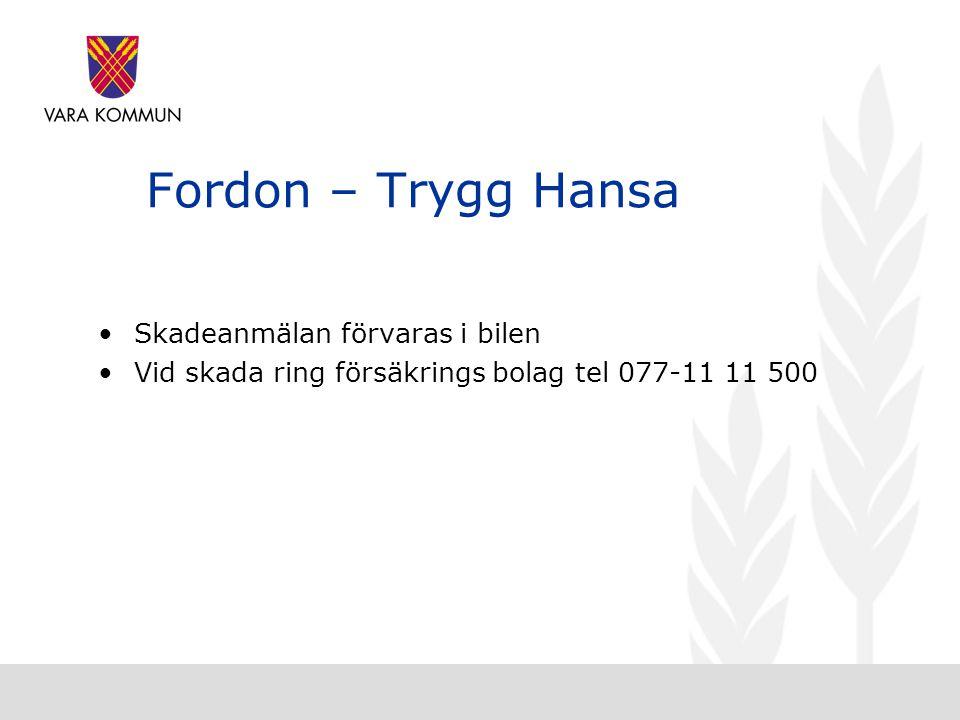Fordon – Trygg Hansa •Skadeanmälan förvaras i bilen •Vid skada ring försäkrings bolag tel 077-11 11 500