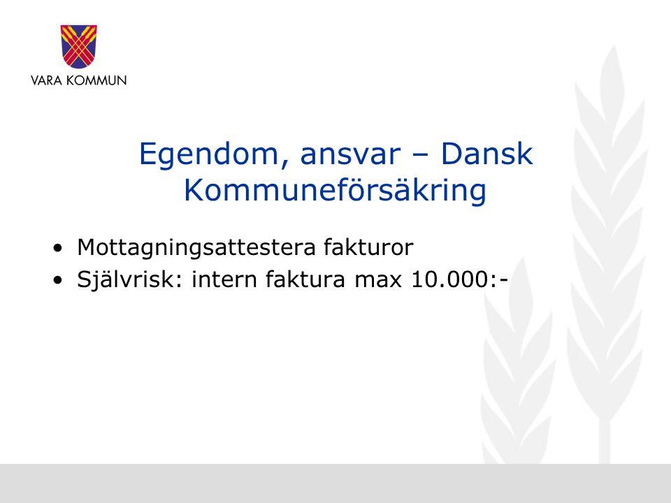 Egendom, ansvar – Dansk Kommuneförsäkring •Mottagningsattestera fakturor •Självrisk: intern faktura max 10.000:-