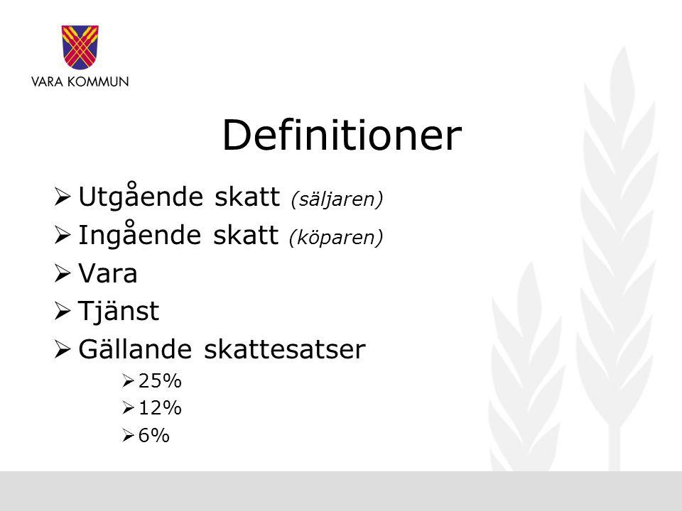 Definitioner  Utgående skatt (säljaren)  Ingående skatt (köparen)  Vara  Tjänst  Gällande skattesatser  25%  12%  6%