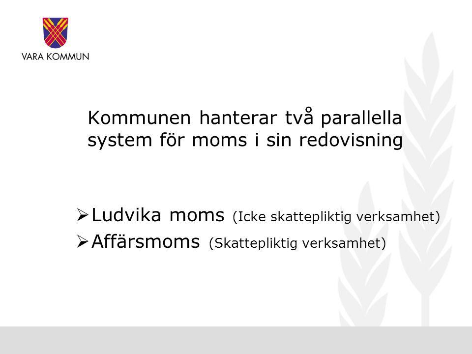 Kommunen hanterar två parallella system för moms i sin redovisning  Ludvika moms (Icke skattepliktig verksamhet)  Affärsmoms (Skattepliktig verksamhet)
