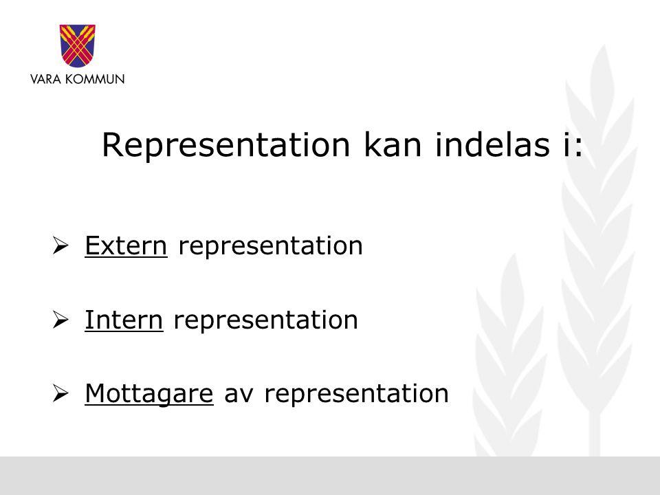Representation kan indelas i:  Extern representation  Intern representation  Mottagare av representation