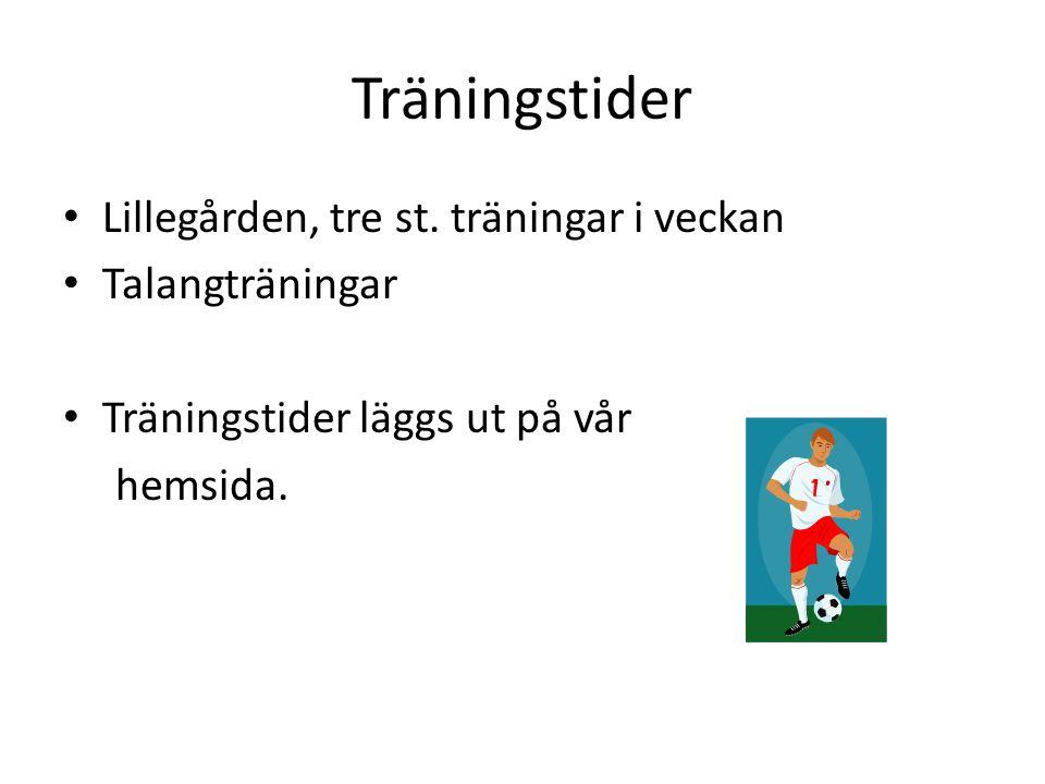 Träningstider • Lillegården, tre st.