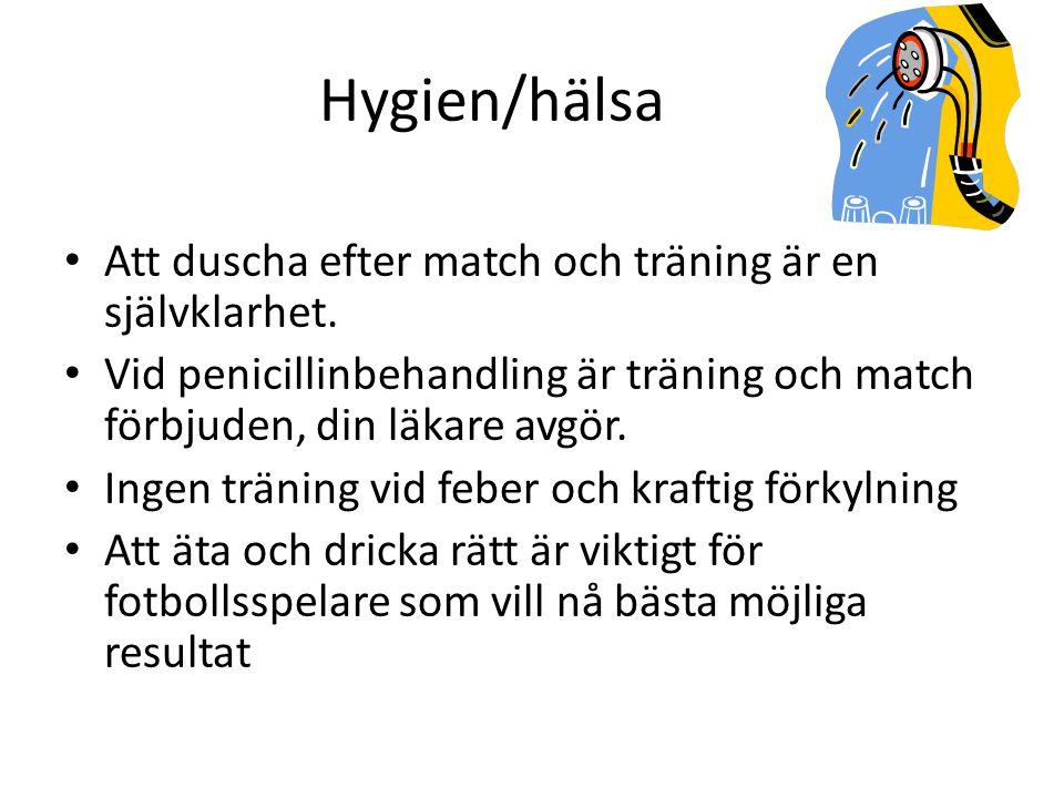 Hygien/hälsa • Att duscha efter match och träning är en självklarhet.