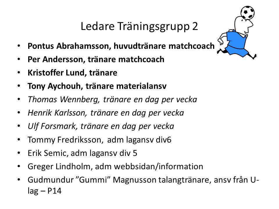 Ledare Träningsgrupp 2 • Pontus Abrahamsson, huvudtränare matchcoach • Per Andersson, tränare matchcoach • Kristoffer Lund, tränare • Tony Aychouh, tränare materialansv • Thomas Wennberg, tränare en dag per vecka • Henrik Karlsson, tränare en dag per vecka • Ulf Forsmark, tränare en dag per vecka • Tommy Fredriksson, adm lagansv div6 • Erik Semic, adm lagansv div 5 • Greger Lindholm, adm webbsidan/information • Gudmundur Gummi Magnusson talangtränare, ansv från U- lag – P14