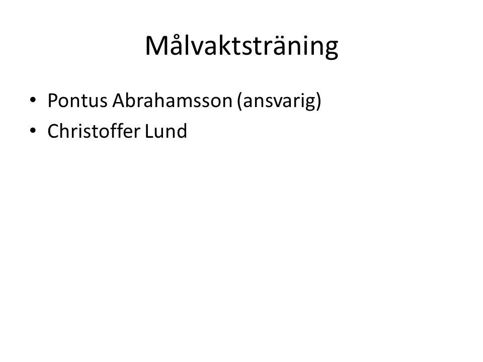 Målvaktsträning • Pontus Abrahamsson (ansvarig) • Christoffer Lund