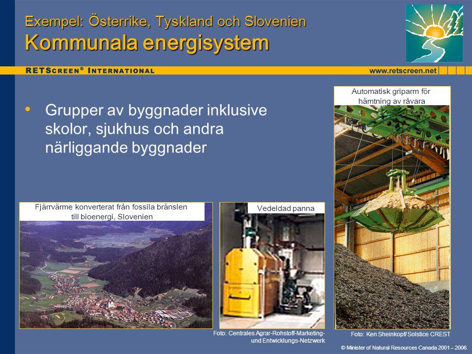 © Minister of Natural Resources Canada 2001 – 2006. Exempel: Österrike, Tyskland och Slovenien Kommunala energisystem • • Grupper av byggnader inklusi