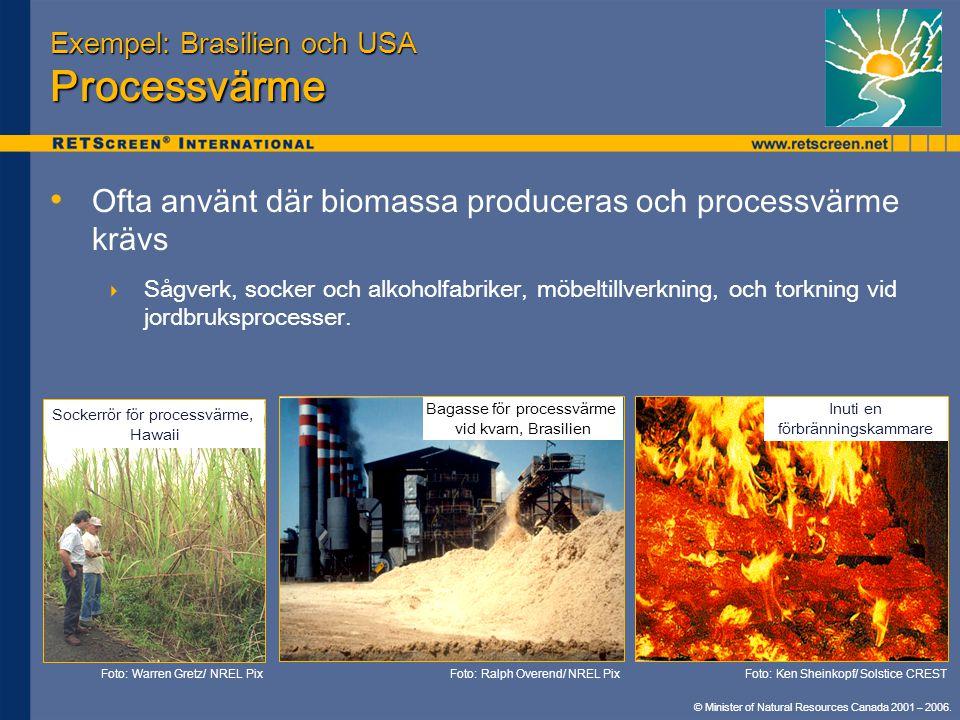 © Minister of Natural Resources Canada 2001 – 2006. Exempel: Brasilien och USA Processvärme • • Ofta använt där biomassa produceras och processvärme k