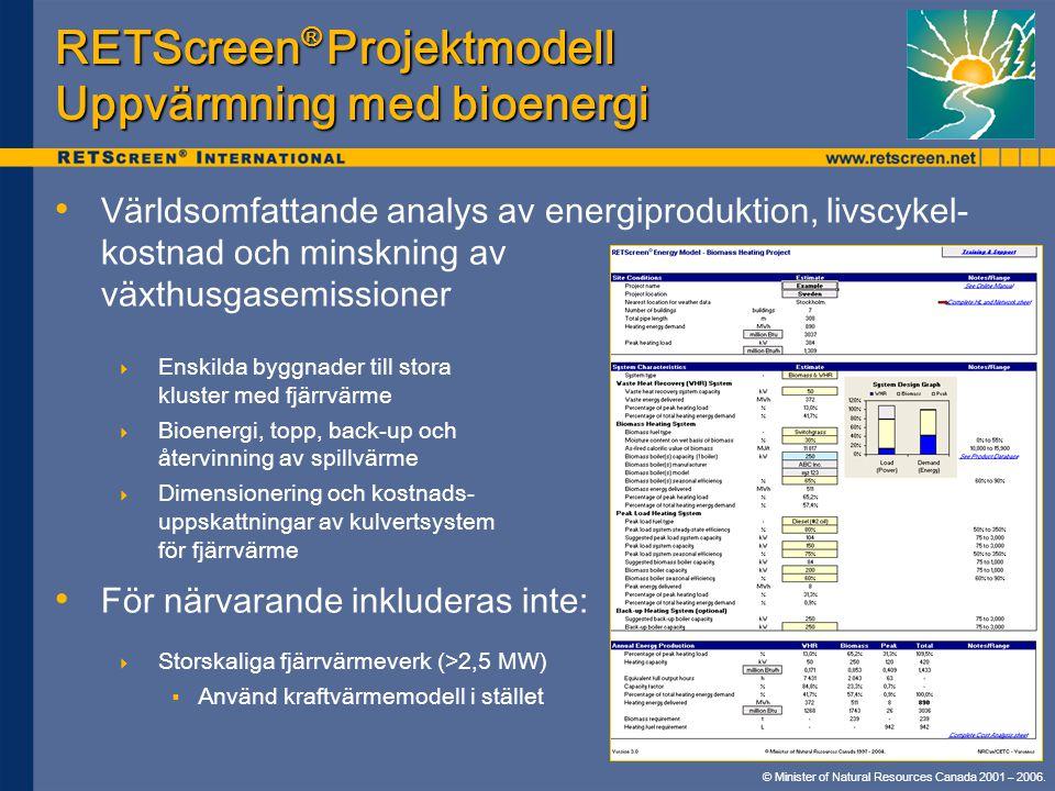 © Minister of Natural Resources Canada 2001 – 2006. RETScreen ® Projektmodell Uppvärmning med bioenergi • • Världsomfattande analys av energiproduktio