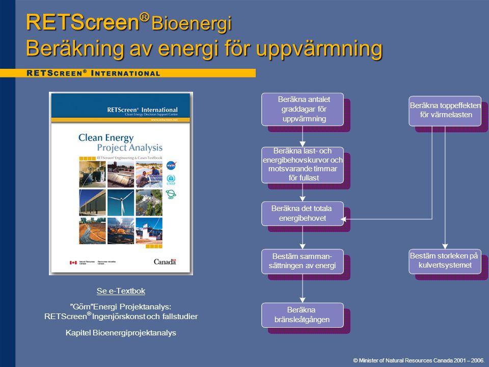 """© Minister of Natural Resources Canada 2001 – 2006. RETScreen ® Bioenergi Beräkning av energi för uppvärmning Se e-Textbok """"Görn""""Energi Projektanalys:"""