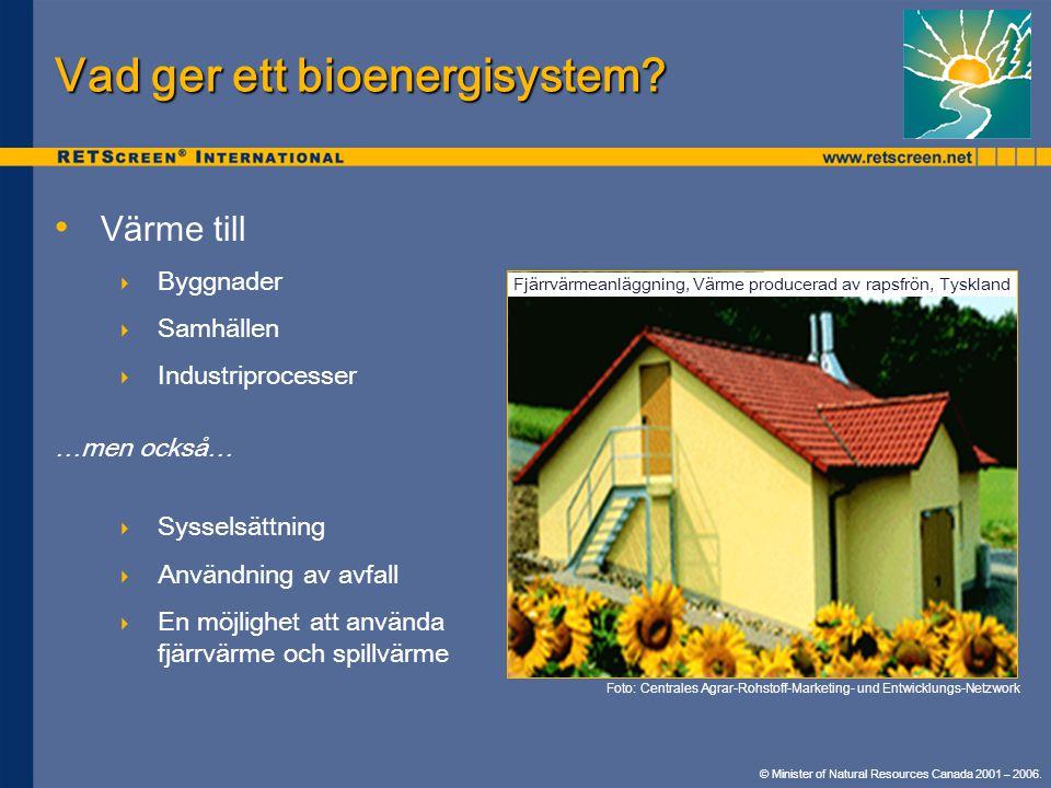© Minister of Natural Resources Canada 2001 – 2006. • • Värme till  Byggnader  Samhällen  Industriprocesser …men också…  Sysselsättning  Användni