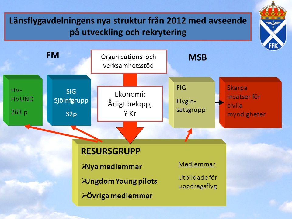 Länsflygavdelningens nya struktur från 2012 med avseende på utveckling och rekrytering SIG SjöInfgrupp 32p FM MSB RESURSGRUPP  Nya medlemmar  Ungdom