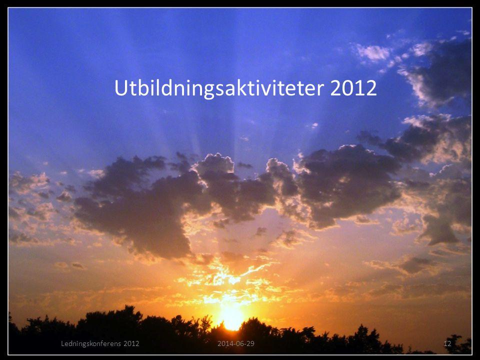 Utbildningsaktiviteter 2012 Ledningskonferens 20122014-06-2912
