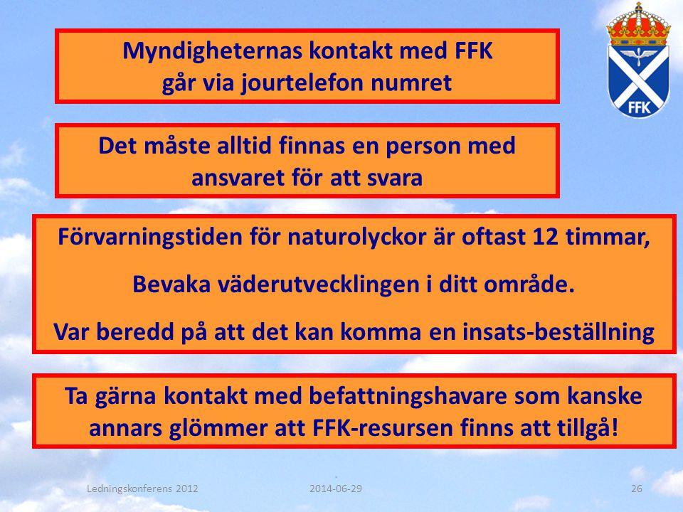 Myndigheternas kontakt med FFK går via jourtelefon numret Det måste alltid finnas en person med ansvaret för att svara Förvarningstiden för naturolyck