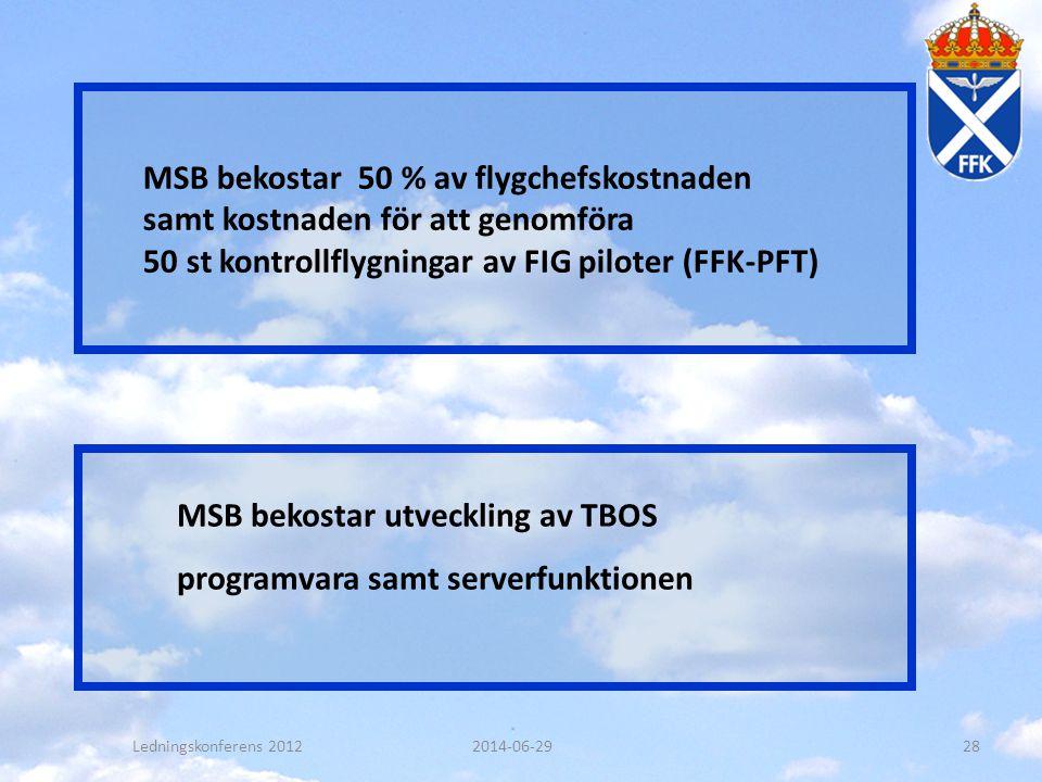 MSB bekostar 50 % av flygchefskostnaden samt kostnaden för att genomföra 50 st kontrollflygningar av FIG piloter (FFK-PFT) MSB bekostar utveckling av