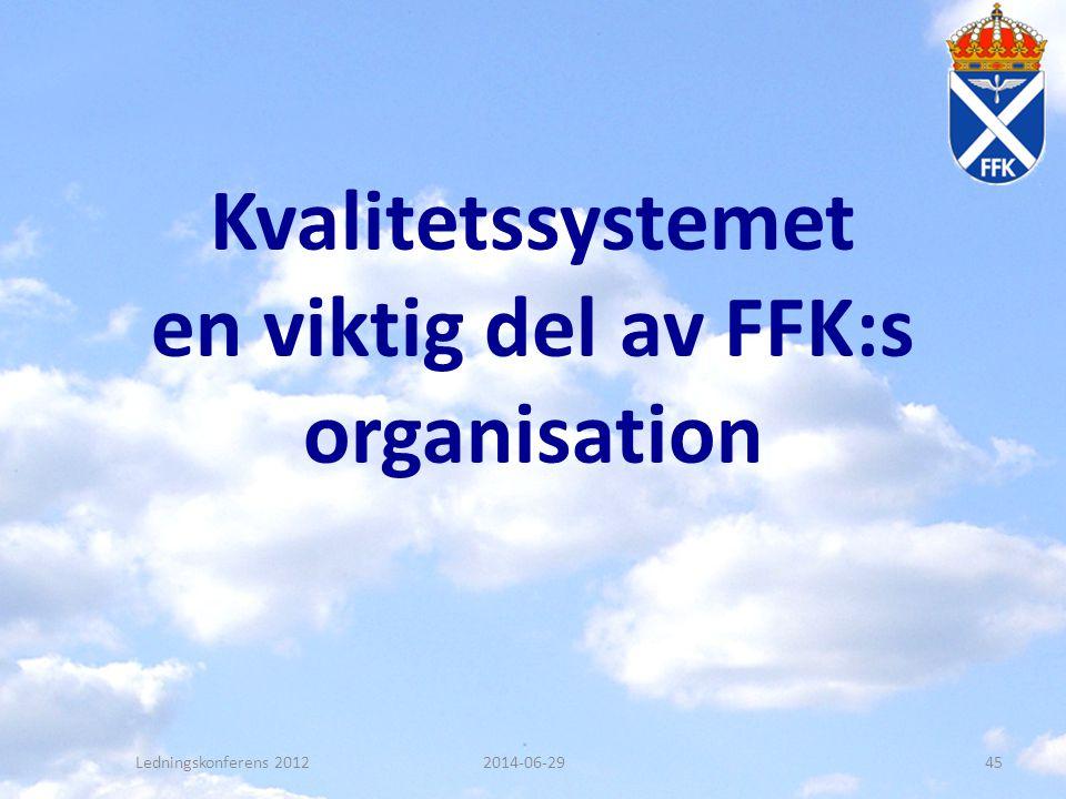 Kvalitetssystemet en viktig del av FFK:s organisation Ledningskonferens 20122014-06-2945