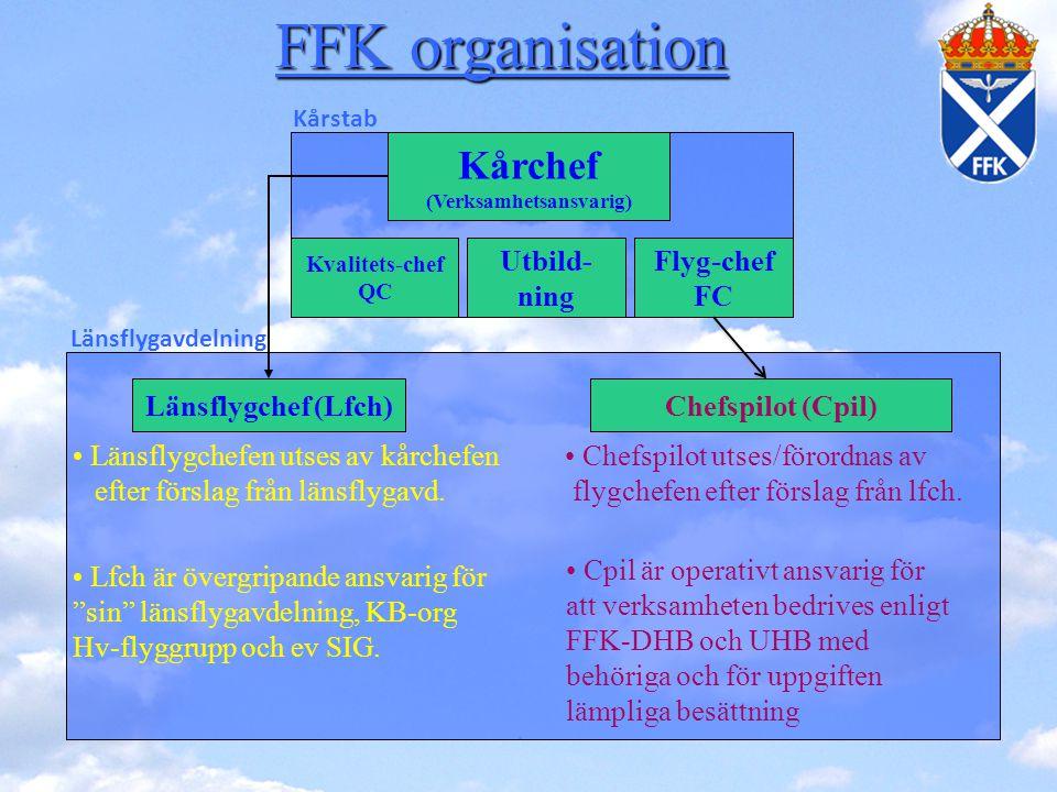 Flyg-chef FC Länsflygchef (Lfch)Chefspilot (Cpil) • Länsflygchefen utses av kårchefen efter förslag från länsflygavd. • Chefspilot utses/förordnas av