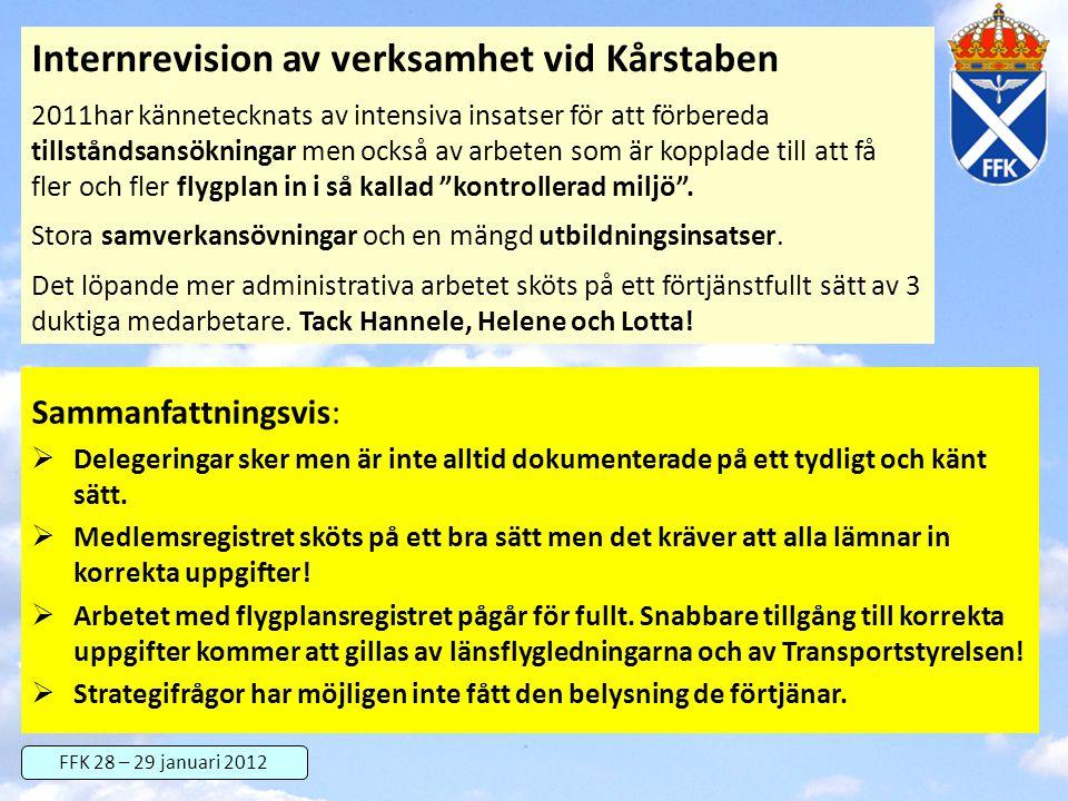 FFK 28 – 29 januari 2012 Internrevision av verksamhet vid Kårstaben 2011har kännetecknats av intensiva insatser för att förbereda tillståndsansökninga