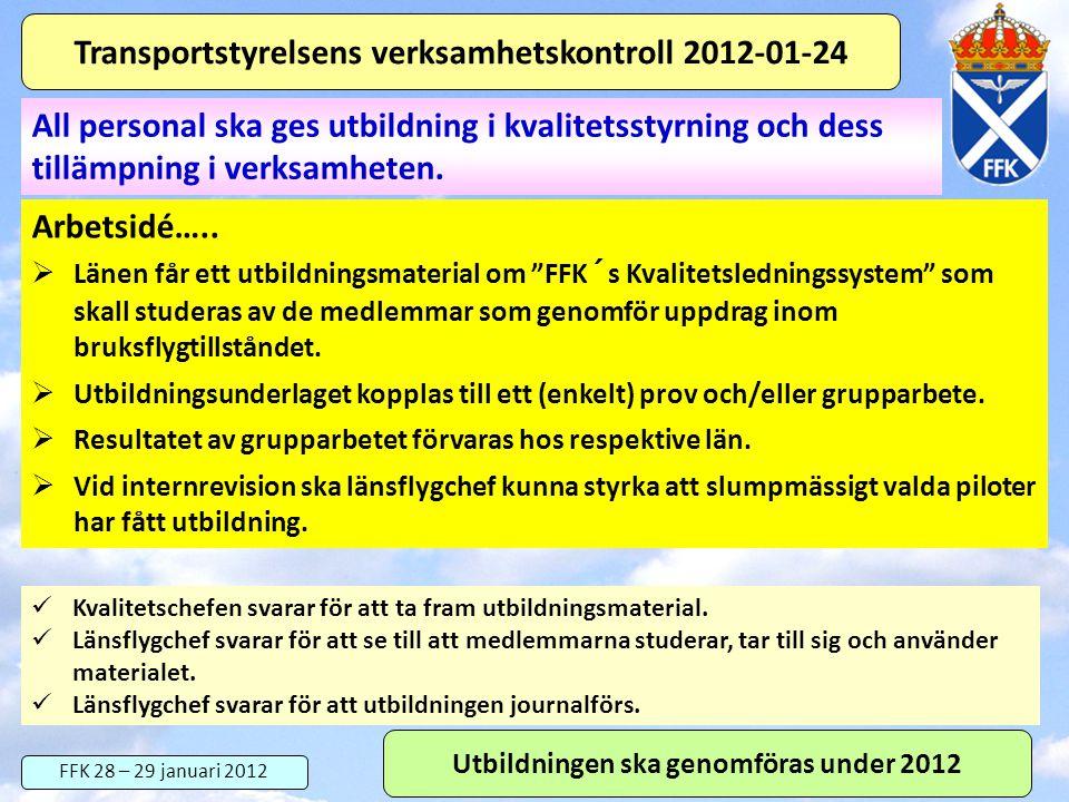 """FFK 28 – 29 januari 2012 Transportstyrelsens verksamhetskontroll 2012-01-24 Arbetsidé…..  Länen får ett utbildningsmaterial om """"FFK´s Kvalitetslednin"""