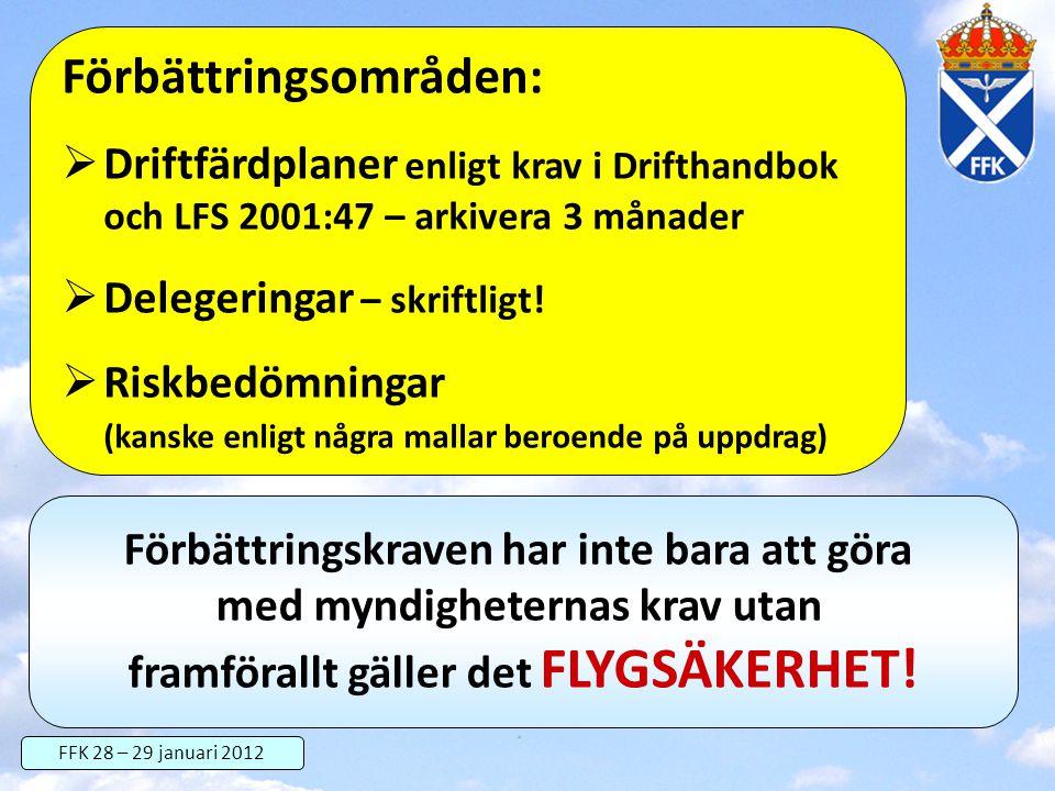 FFK 28 – 29 januari 2012 Förbättringsområden:  Driftfärdplaner enligt krav i Drifthandbok och LFS 2001:47 – arkivera 3 månader  Delegeringar – skrif