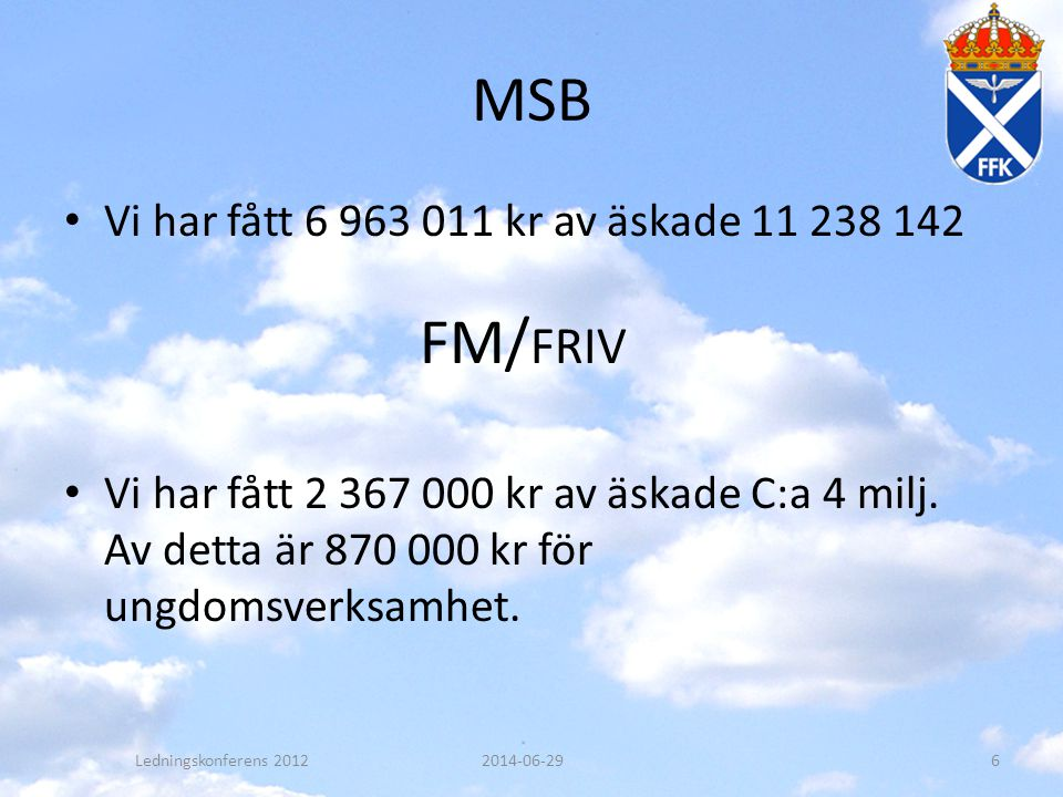 MSB • Vi har fått 6 963 011 kr av äskade 11 238 142 • Vi har fått 2 367 000 kr av äskade C:a 4 milj. Av detta är 870 000 kr för ungdomsverksamhet. FM/