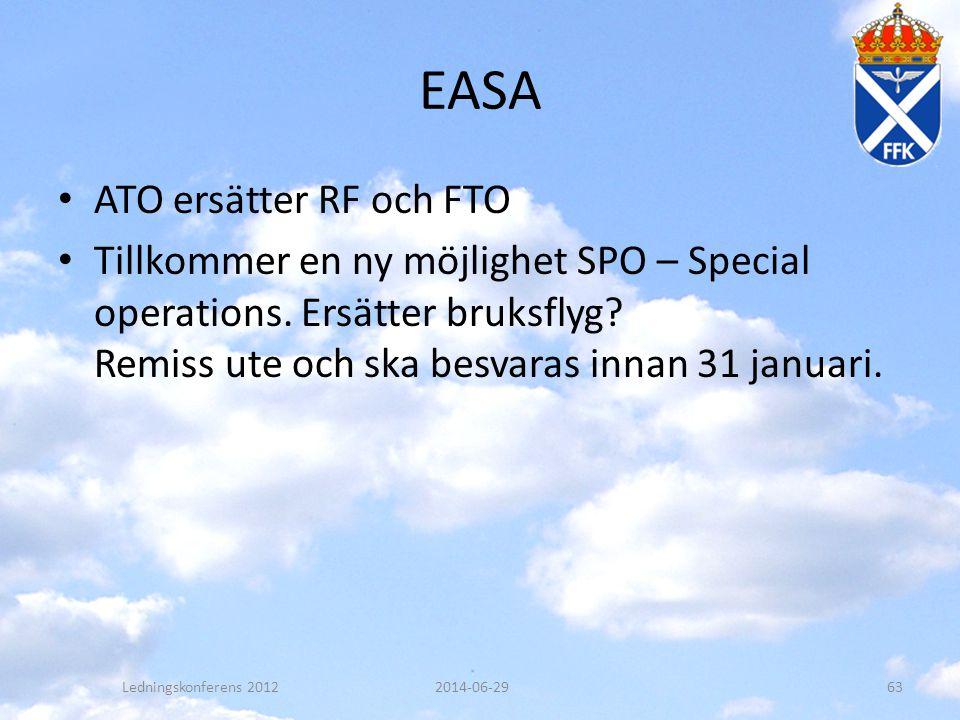 EASA • ATO ersätter RF och FTO • Tillkommer en ny möjlighet SPO – Special operations. Ersätter bruksflyg? Remiss ute och ska besvaras innan 31 januari