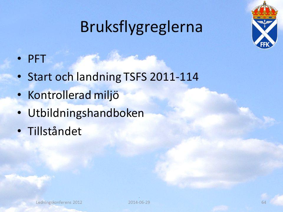 Bruksflygreglerna • PFT • Start och landning TSFS 2011-114 • Kontrollerad miljö • Utbildningshandboken • Tillståndet 2014-06-29Ledningskonferens 20126