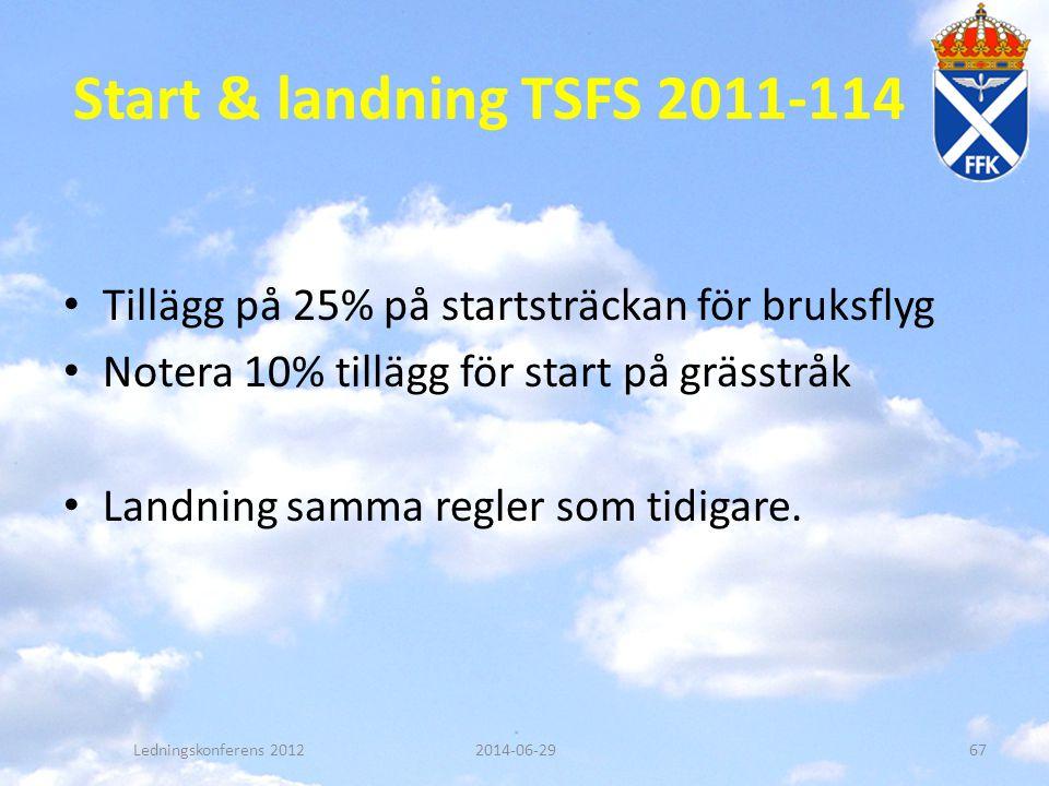 Start & landning TSFS 2011-114 • Tillägg på 25% på startsträckan för bruksflyg • Notera 10% tillägg för start på grässtråk • Landning samma regler som