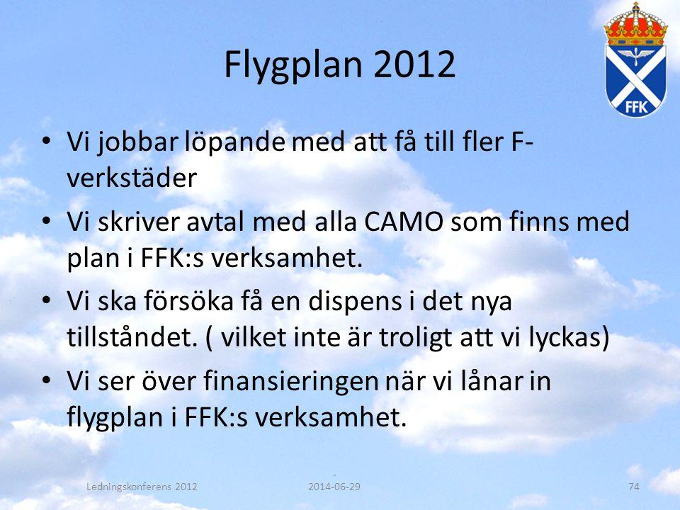 Flygplan 2012 • Vi jobbar löpande med att få till fler F- verkstäder • Vi skriver avtal med alla CAMO som finns med plan i FFK:s verksamhet. • Vi ska