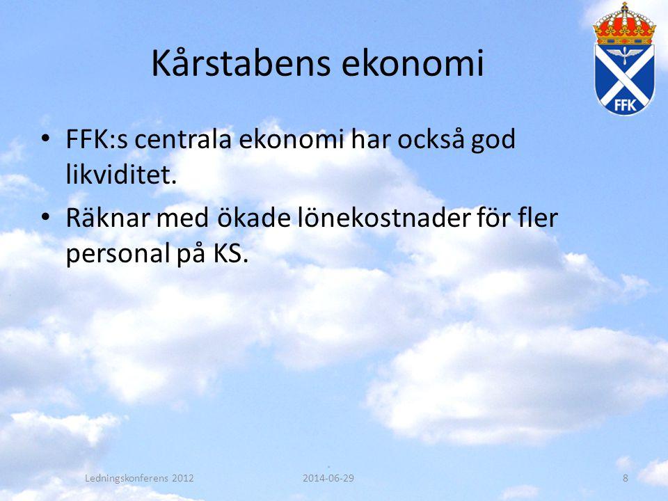 Kårstabens ekonomi • FFK:s centrala ekonomi har också god likviditet. • Räknar med ökade lönekostnader för fler personal på KS. Ledningskonferens 2012