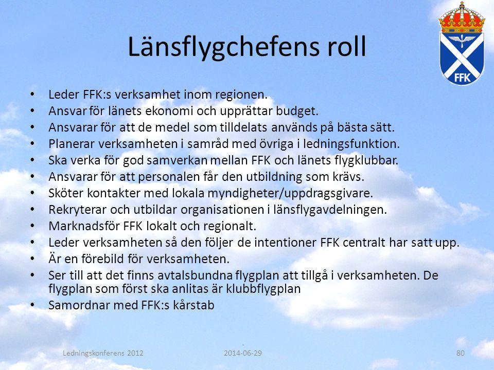 Länsflygchefens roll • Leder FFK:s verksamhet inom regionen. • Ansvar för länets ekonomi och upprättar budget. • Ansvarar för att de medel som tilldel