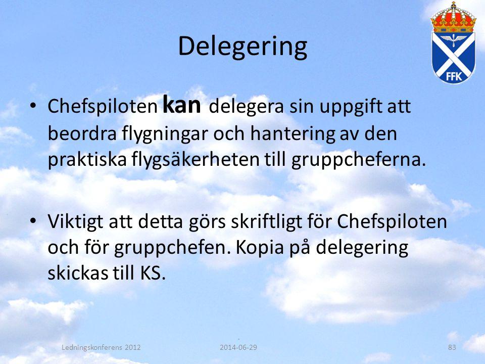 Delegering • Chefspiloten kan delegera sin uppgift att beordra flygningar och hantering av den praktiska flygsäkerheten till gruppcheferna. • Viktigt