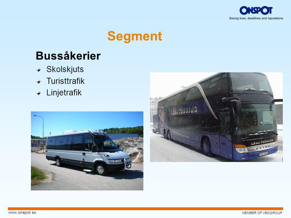 MEMBER OF VBGGROUP www.onspot.eu Segment Bussåkerier Skolskjuts Turisttrafik Linjetrafik