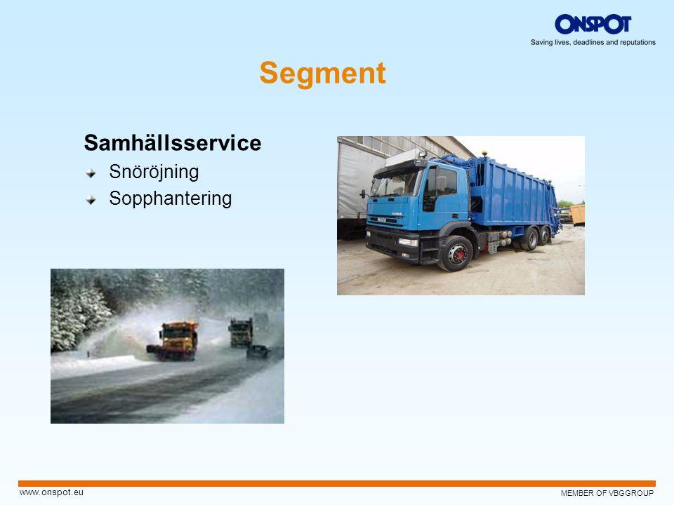 MEMBER OF VBGGROUP www.onspot.eu Segment Samhällsservice Snöröjning Sopphantering