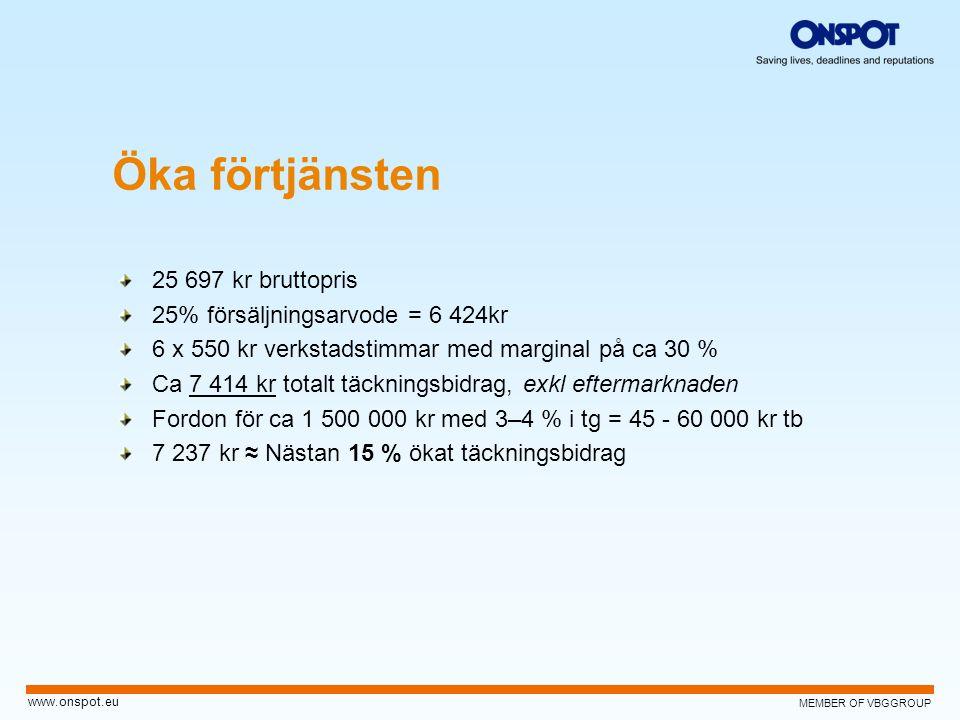MEMBER OF VBGGROUP www.onspot.eu Öka förtjänsten 25 697 kr bruttopris 25% försäljningsarvode = 6 424kr 6 x 550 kr verkstadstimmar med marginal på ca 3