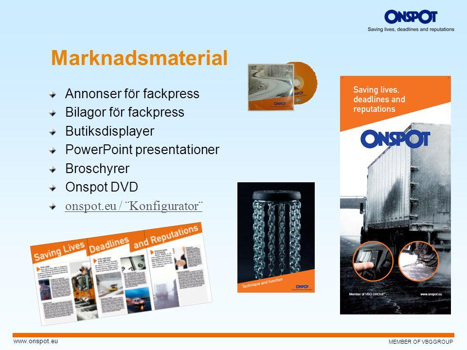 MEMBER OF VBGGROUP www.onspot.eu Marknadsmaterial Annonser för fackpress Bilagor för fackpress Butiksdisplayer PowerPoint presentationer Broschyrer On