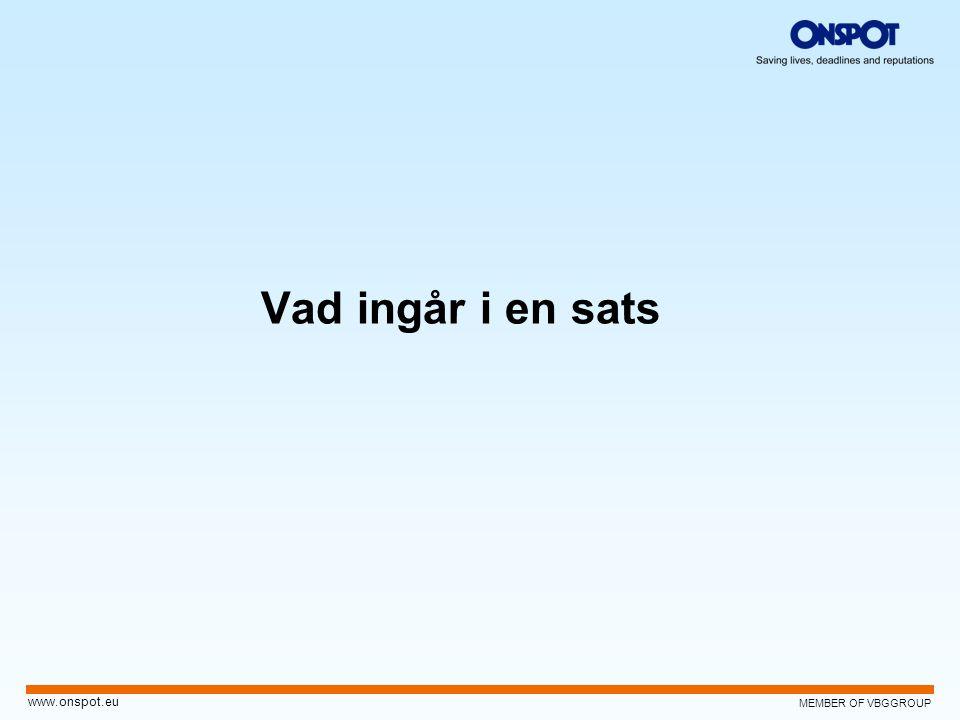 MEMBER OF VBGGROUP www.onspot.eu Vad ingår i en sats