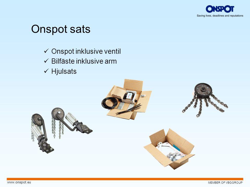MEMBER OF VBGGROUP www.onspot.eu Onspot sats  Onspot inklusive ventil  Bilfäste inklusive arm  Hjulsats