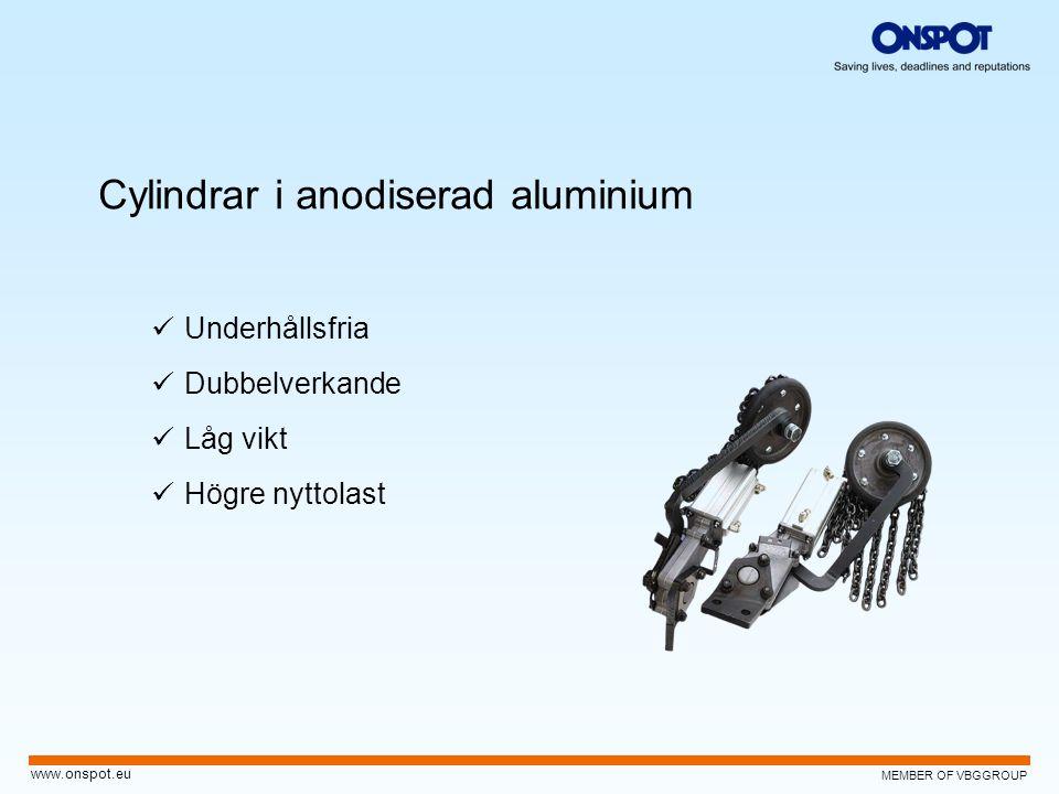 MEMBER OF VBGGROUP www.onspot.eu Cylindrar i anodiserad aluminium  Underhållsfria  Dubbelverkande  Låg vikt  Högre nyttolast