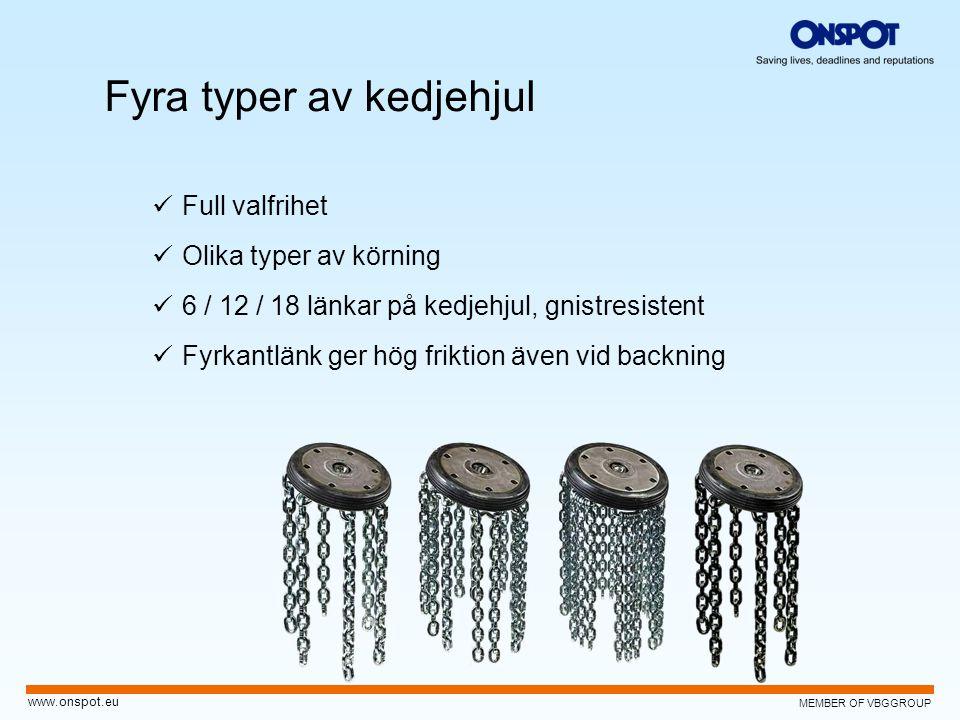 MEMBER OF VBGGROUP www.onspot.eu Fyra typer av kedjehjul  Full valfrihet  Olika typer av körning  6 / 12 / 18 länkar på kedjehjul, gnistresistent 