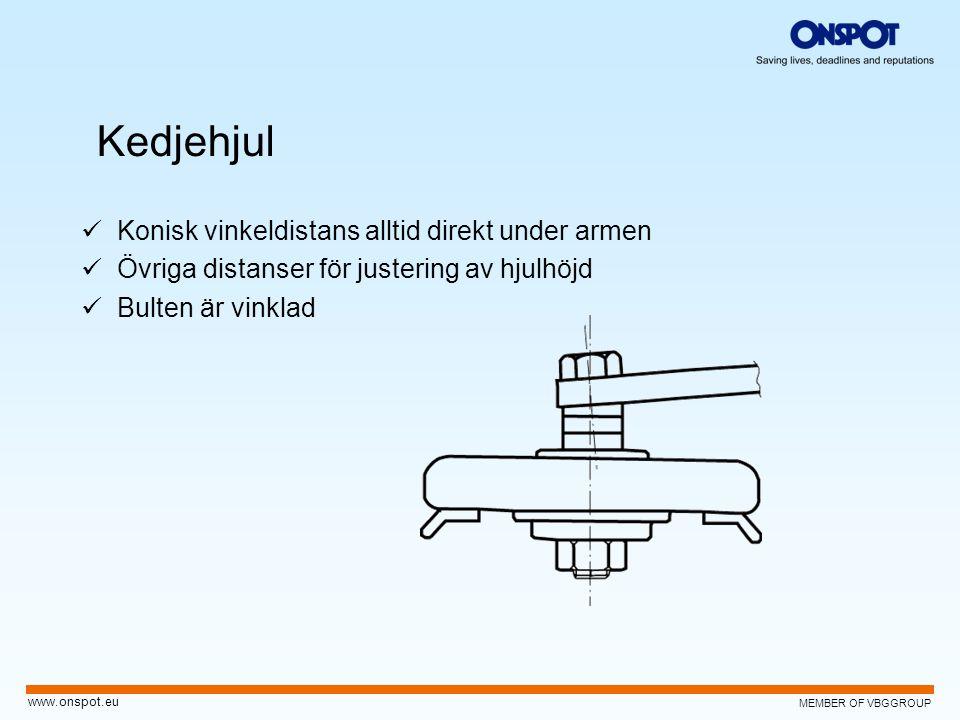 MEMBER OF VBGGROUP www.onspot.eu Kedjehjul  Konisk vinkeldistans alltid direkt under armen  Övriga distanser för justering av hjulhöjd  Bulten är v