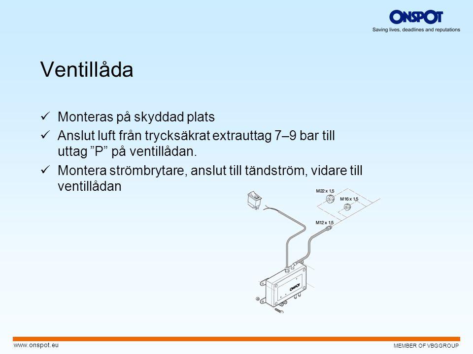 """MEMBER OF VBGGROUP www.onspot.eu Ventillåda  Monteras på skyddad plats  Anslut luft från trycksäkrat extrauttag 7–9 bar till uttag """"P"""" på ventillåda"""